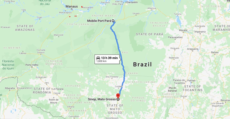 Highway BR-163 will provide cheaper transport costs between soybean-producing Sinop, Mato Grosso, and the exporting port of Itaituba.