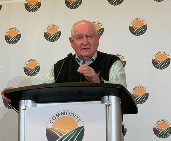 USDA Sec. Sonny Perdue speaking to reporters during this year's Commodity Classic