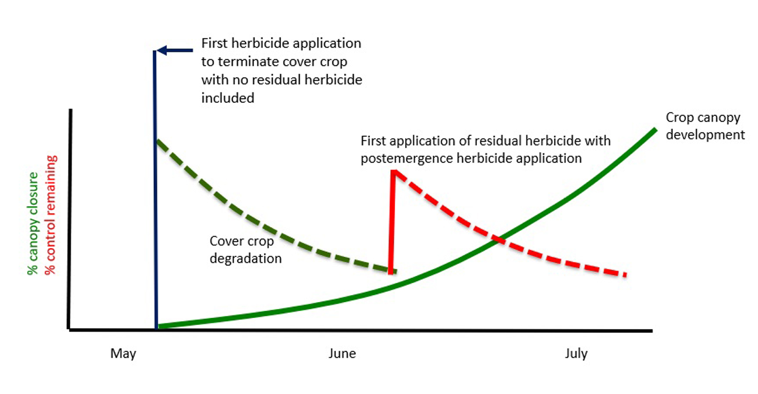 "chart demonstrating a herbicide program with cover crop acting as a short-lived ""residual herbicide"" at or shortly after crop planting, followed by a postemergence herbicide application with a residual herbicide at an early postemergence timing."