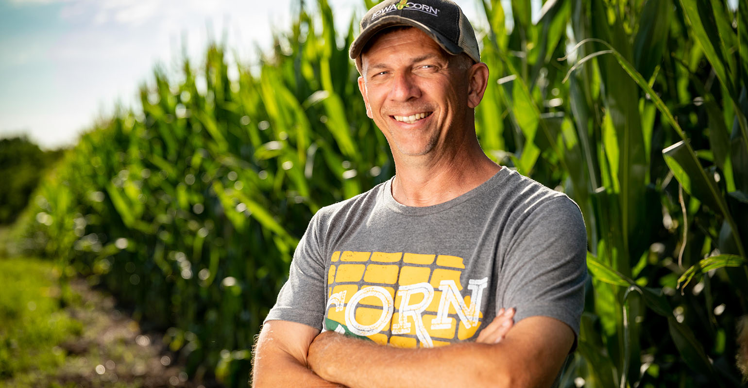 Lance Lillibridge Iowa Farmer standing in corn field