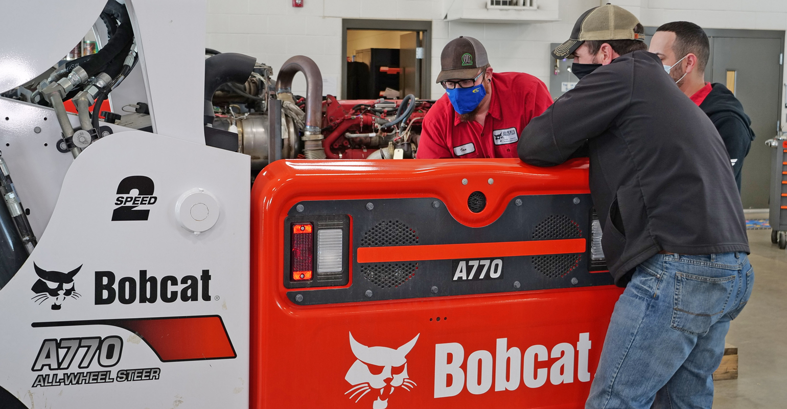 diesel equipment technology students checking out Bobcat equipment at Minnesota State Community and Technical College