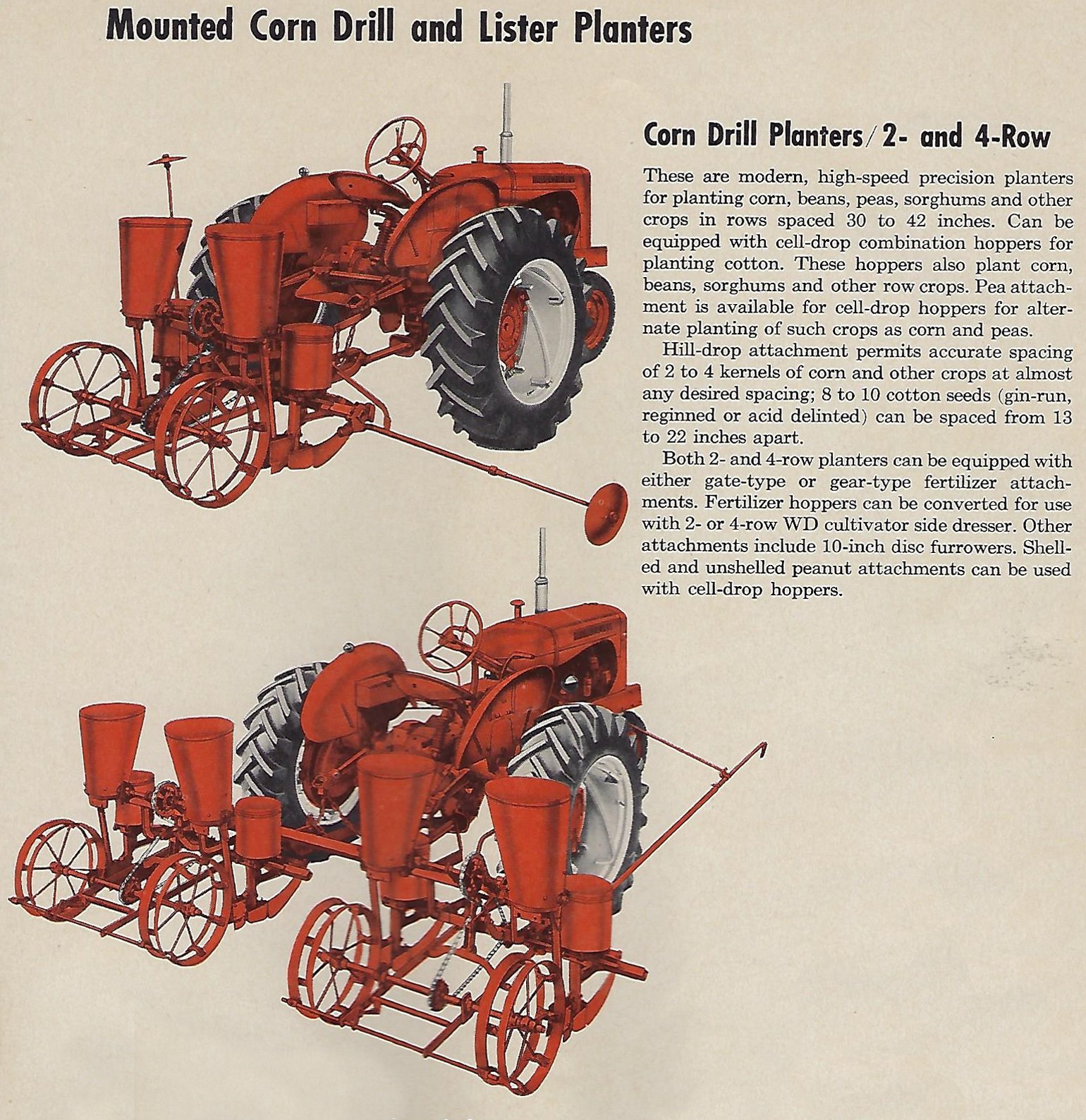 2 Allis-Chalmers corn 'drill' planters pictured in old brochure