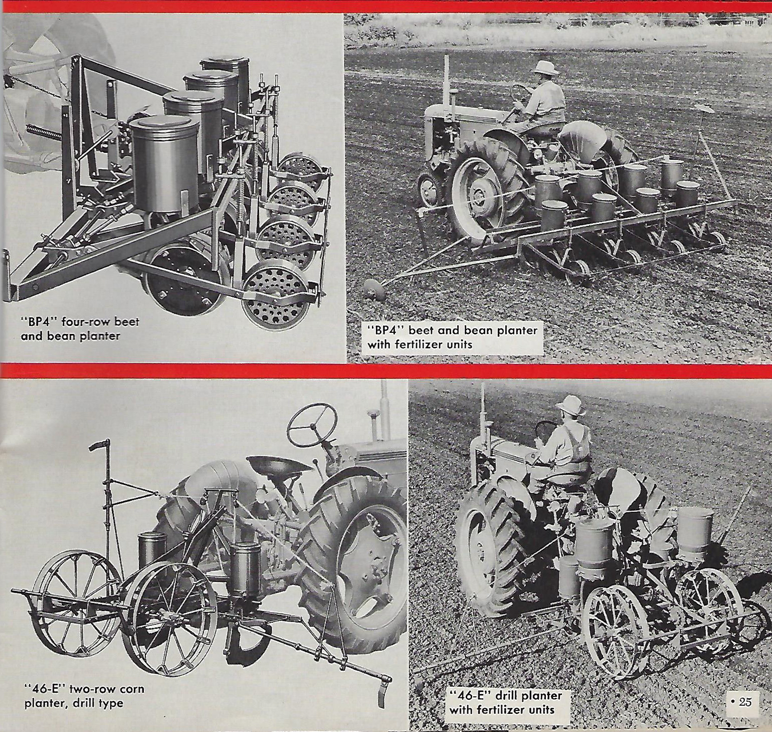 4 old pictures of Case planters mounted to Case tractors using the Case Eagle Hitch system