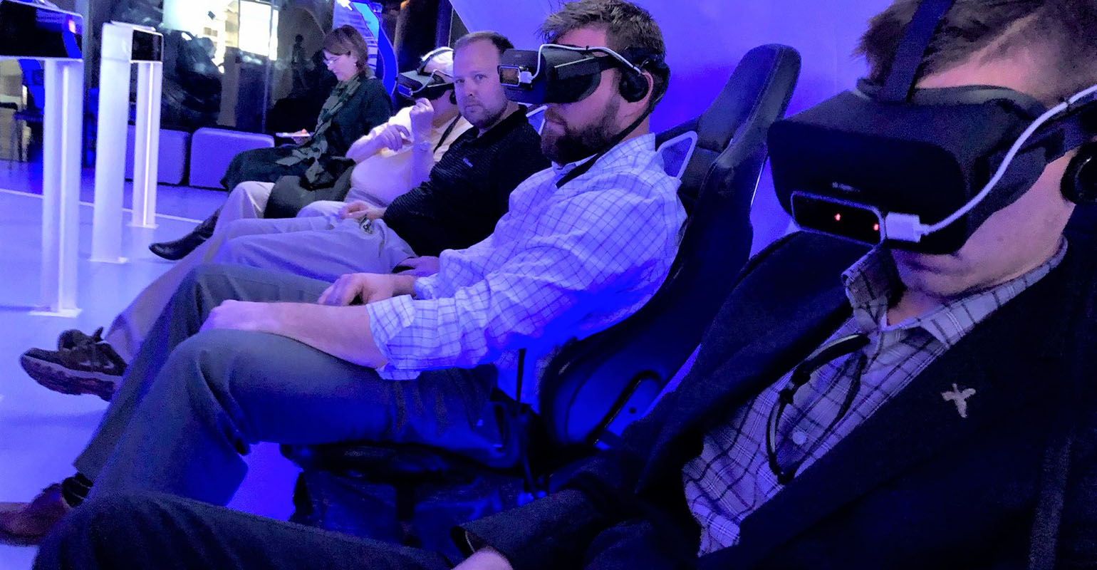 IALP Class of 2020 members utilize a simulator to examine technological advances for the future at the Peres Center for Peace and Innovation in Tel Aviv.