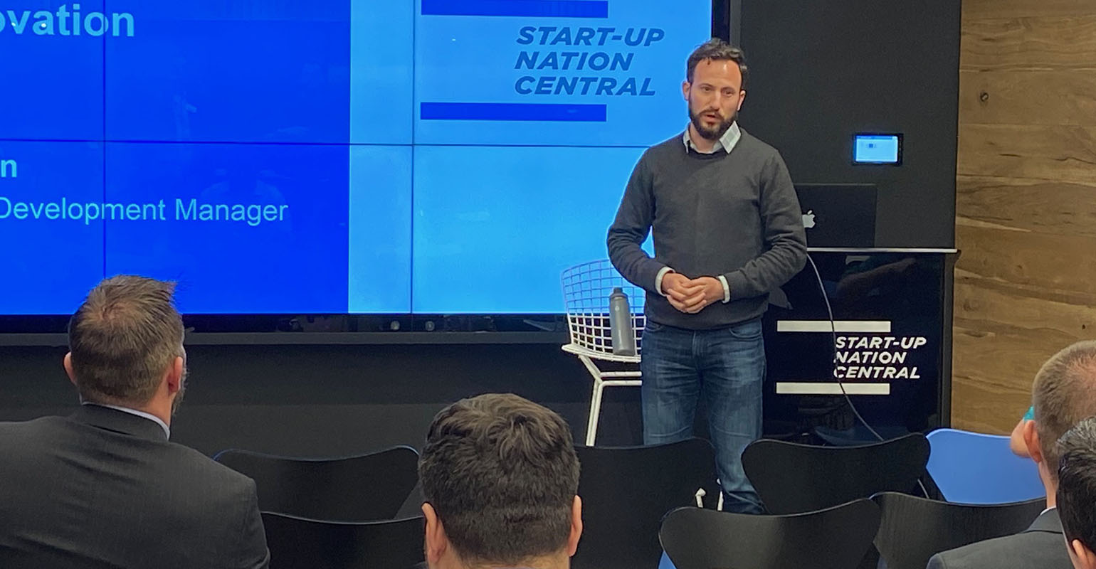 Ben Yuron, Business Development Manager of Start-Up Nation Central, briefs IALP fellows on new initiatives and business creation at their headquarters in Tel Aviv.