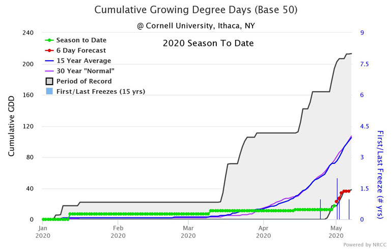 2020 Cumulative Growing Degree Days for Ithaca, N.Y., with a base of 50 (corn)