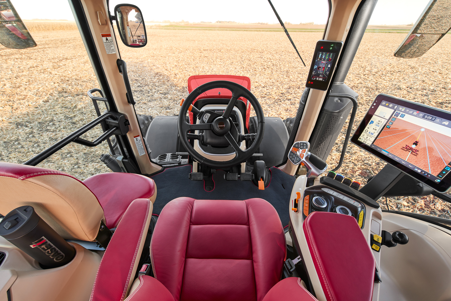 view from inside Case IH tractor cab
