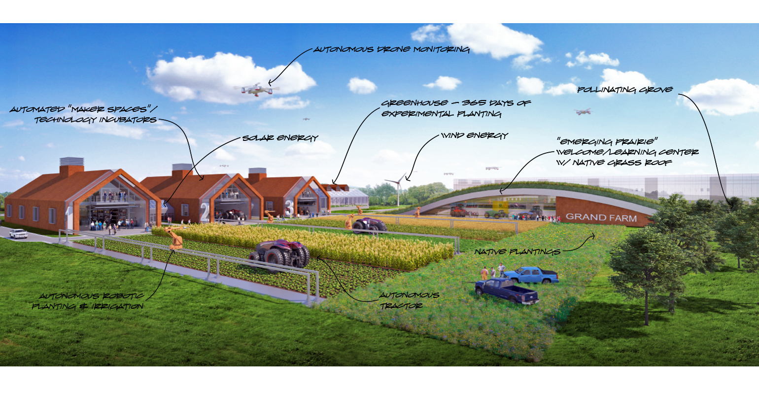 architect's illustration of future Grand Farm