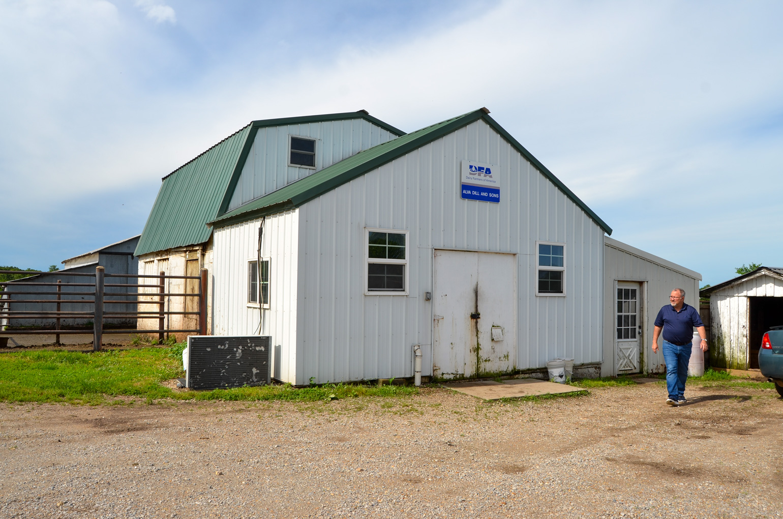 Pictured is the exterior of the milking barn at Alva Dill and Sons Dairy Farm