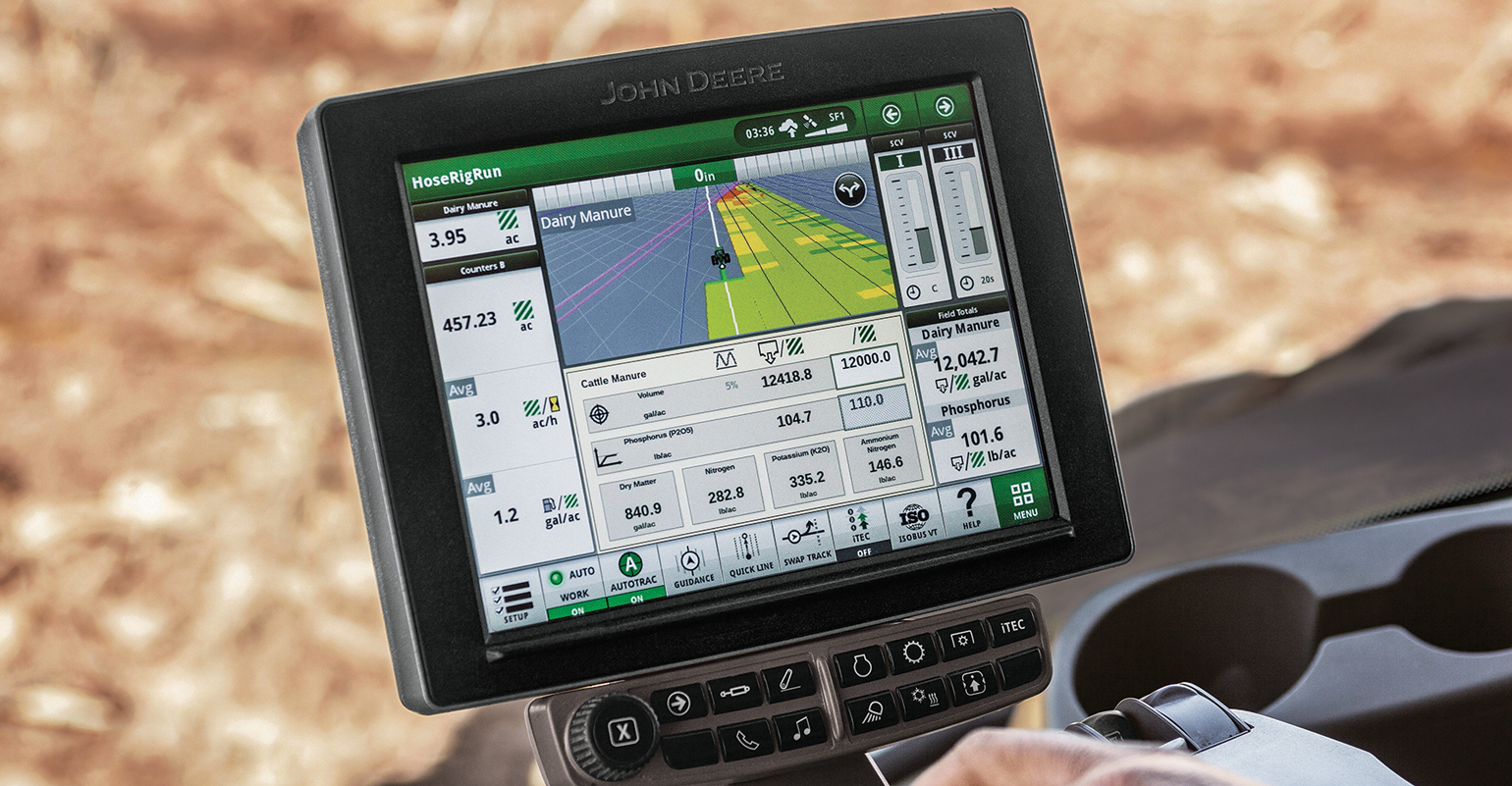 John Deere monitor in tractor cab