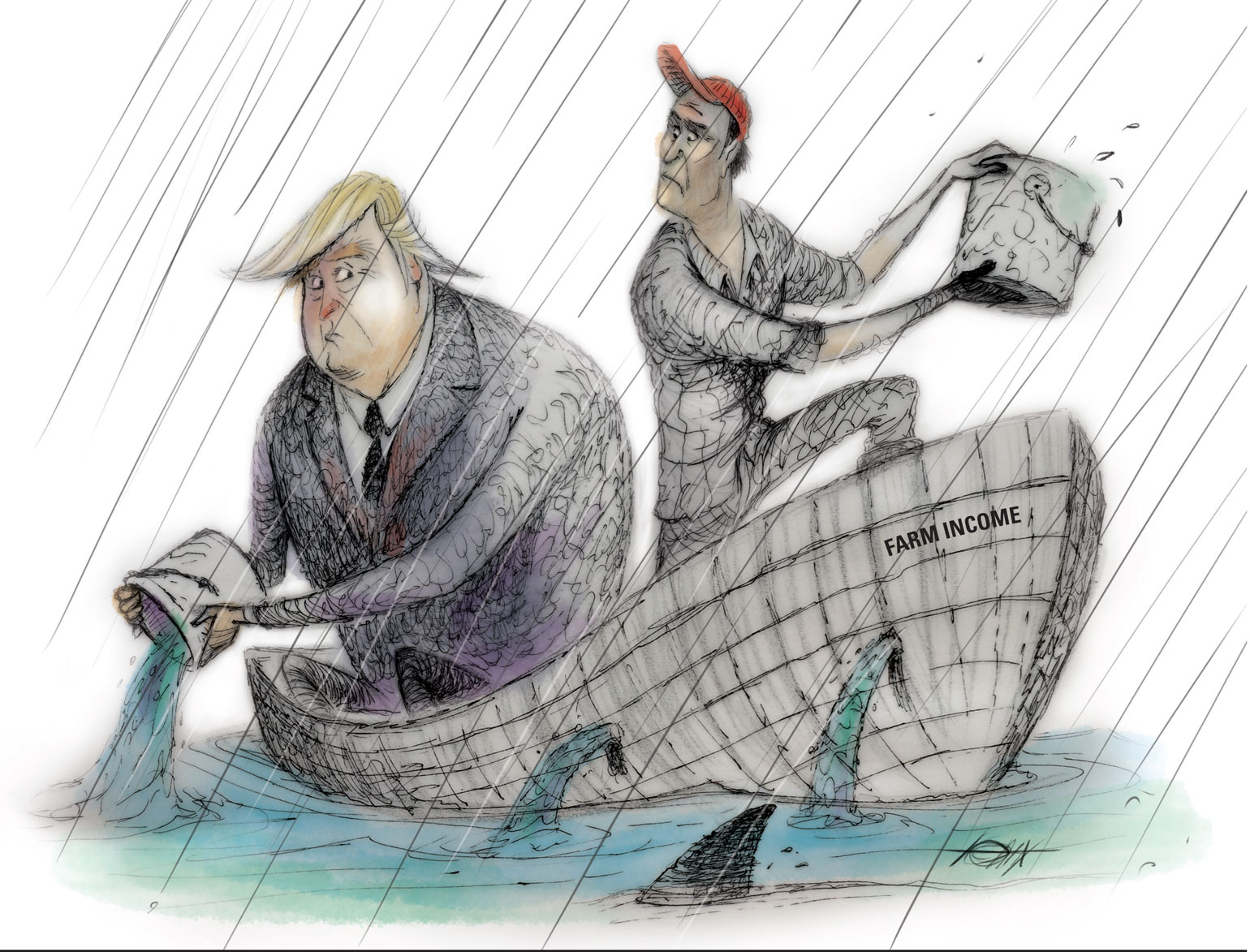 Illustration of Trump and farmer in boat that is sinking bailing out water with buckets.
