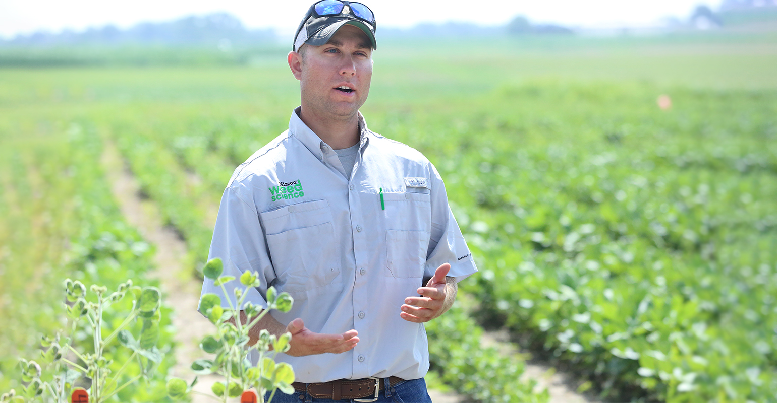 Brian Dintelmann presented on dicamba drift during field day