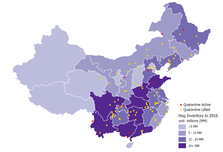 Map of African swine fever cases in mainland China