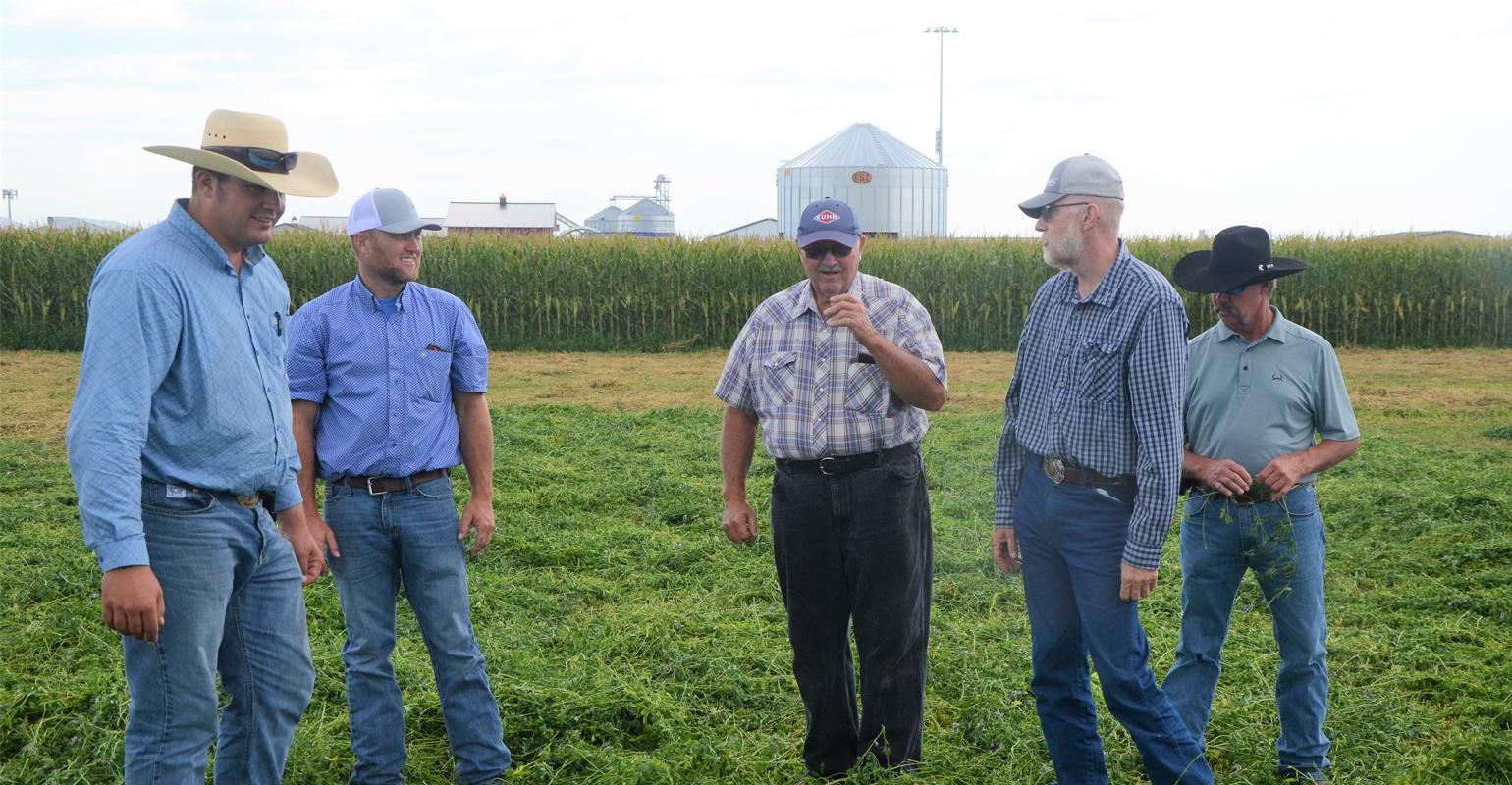 Five Nebraska producers came to the Husker Harvest Days site in to see latest hay equipment and cattle chutes in action as part of the filming of the Farm Progress Virtual Experience.