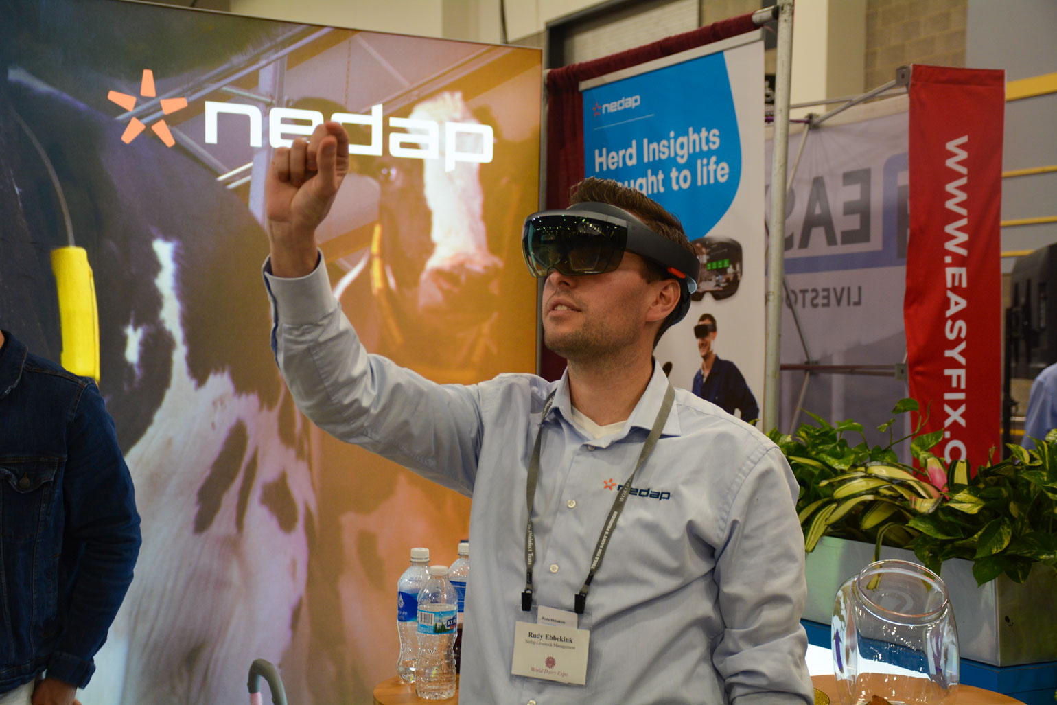 Rudy Ebbekink demonstrates Nedap's dairy augmented reality system using Microsoft Hololens goggles