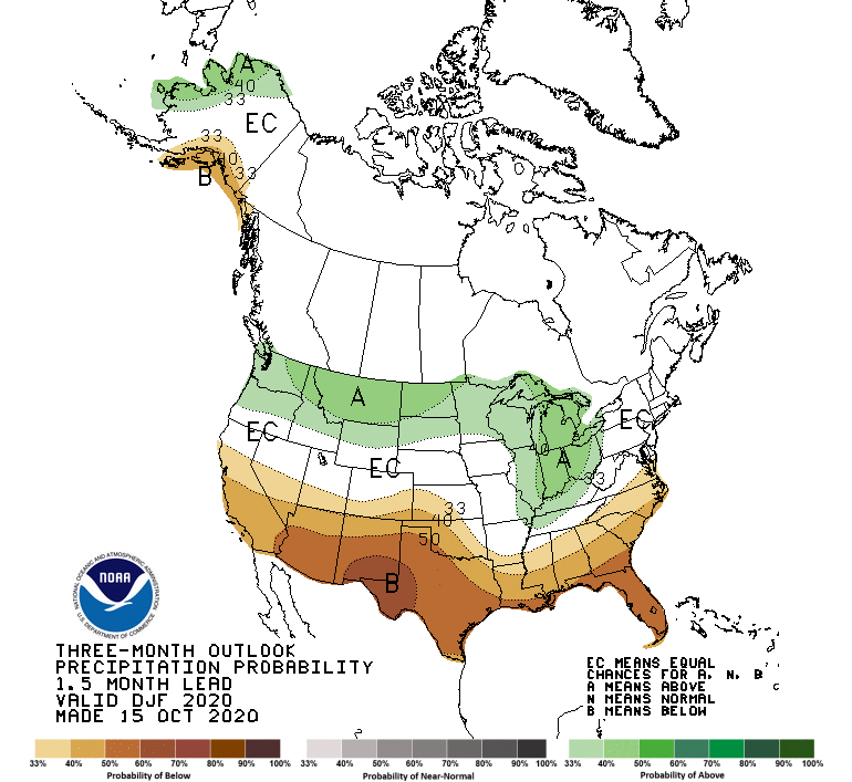 Three-month outlook precipitation probability