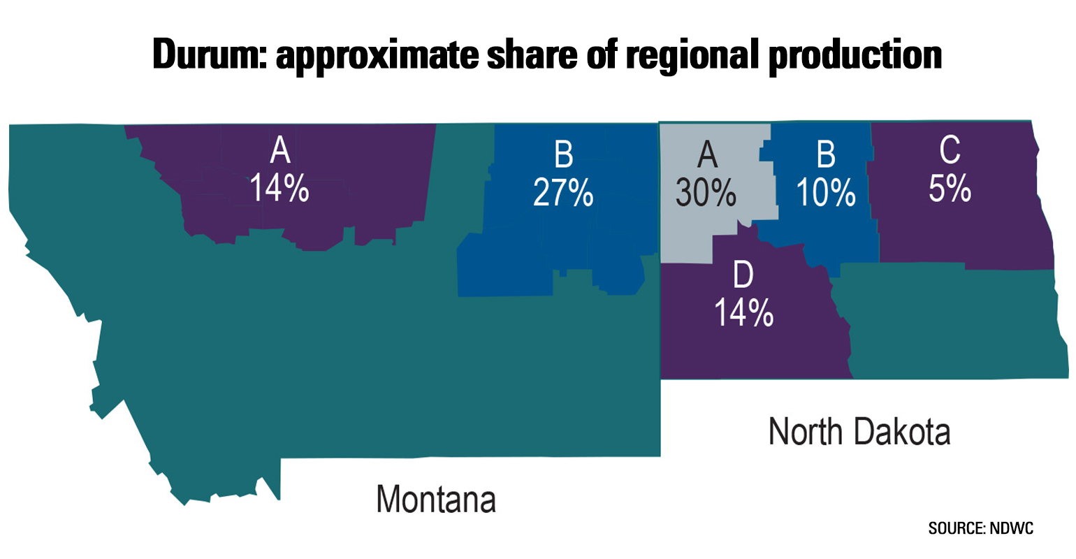 Map showing approximate share of regional production for durum