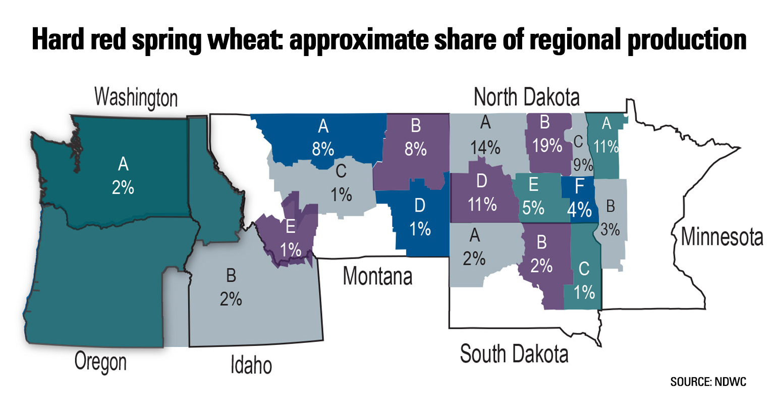 Map showing approximate share of regional production for hard red spring wheat
