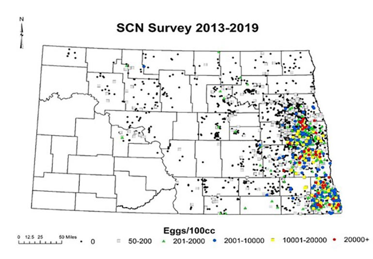 A map of SCN distribution in North Dakota