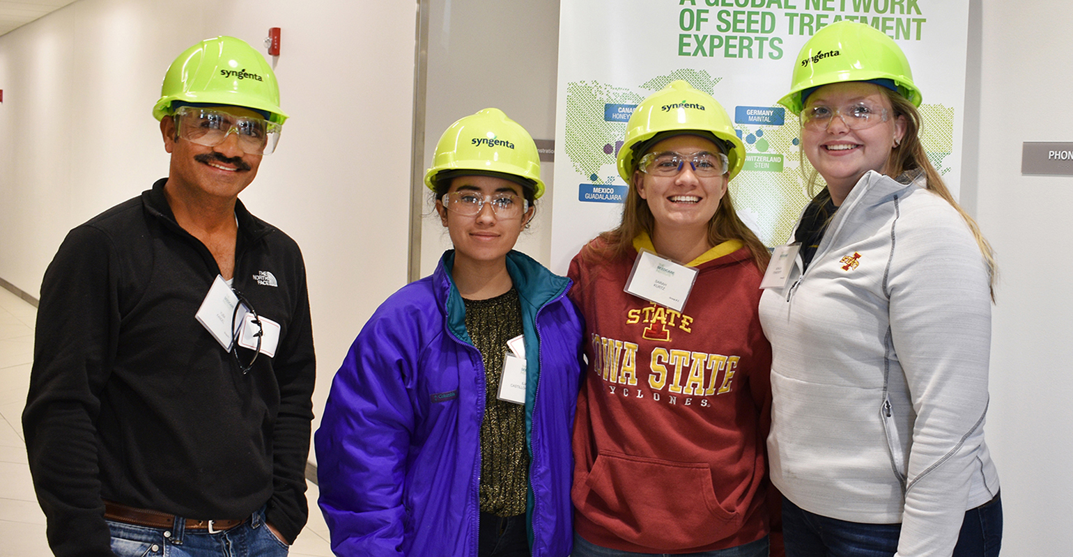 Touring the Syngenta seed research facility recently were (from left) Yuba Kandel, Iliana Castillo-Machuca, Sarah Kurtz and Monica Pennewitt—representing ISU faculty, students and staff