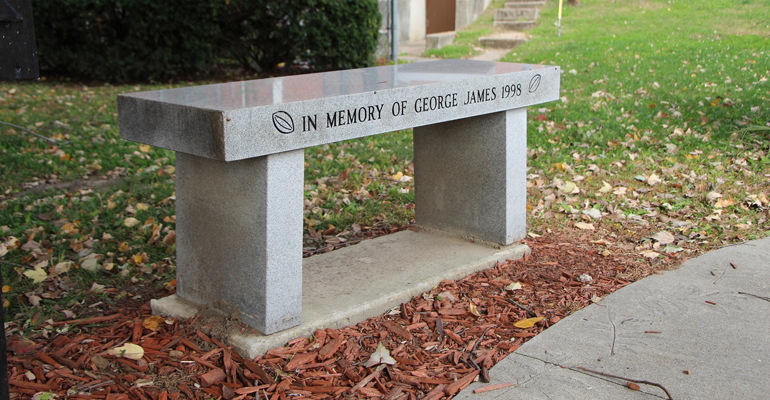 memorial bench in honor of George and Elizabeth James who ran a pecan farm for 60 years