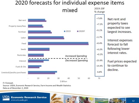 2020 forecasts for individual expense items mixed