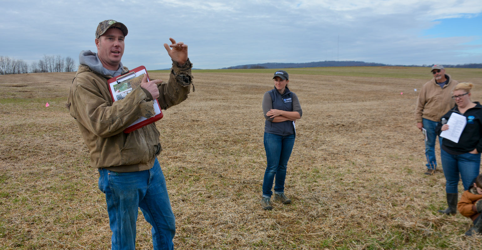 Andy Flinchbaugh discusses legume cover crops after double-crop soybeans from a demonstration plot