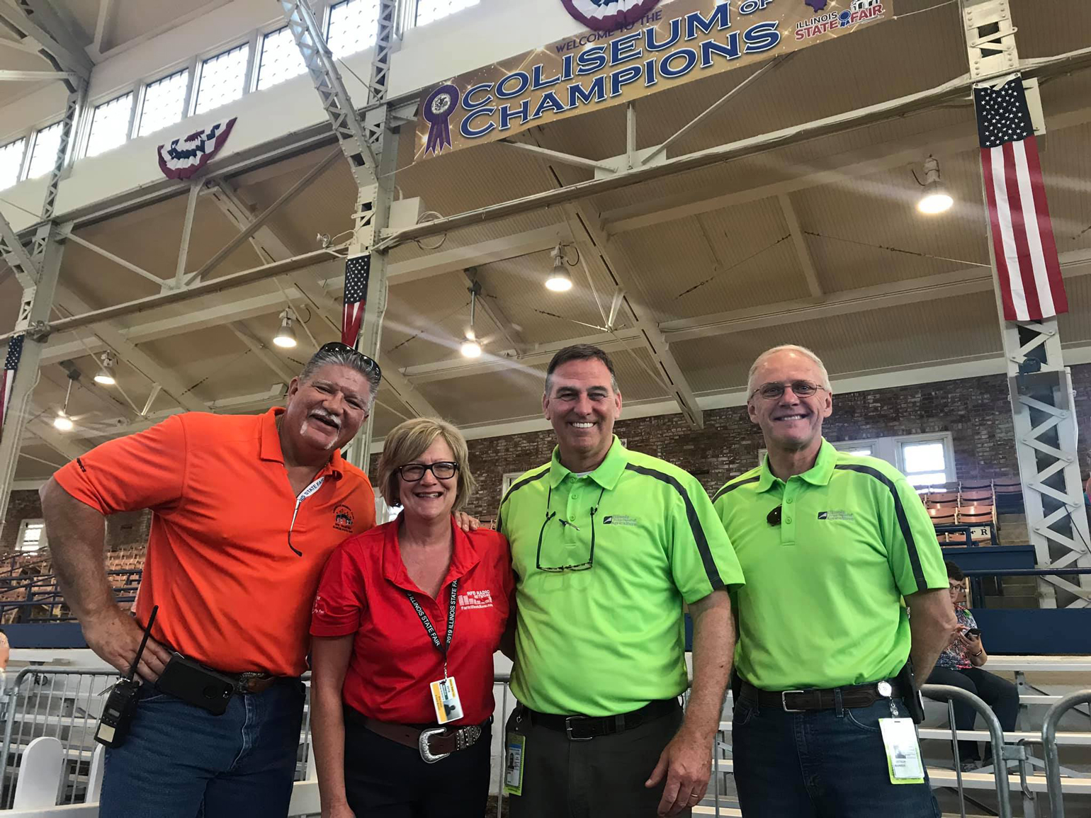 Kevin Gordon, Rita Frazer, John Sullivan, Warren Goetsch in Coliseum at Illinois State Fair