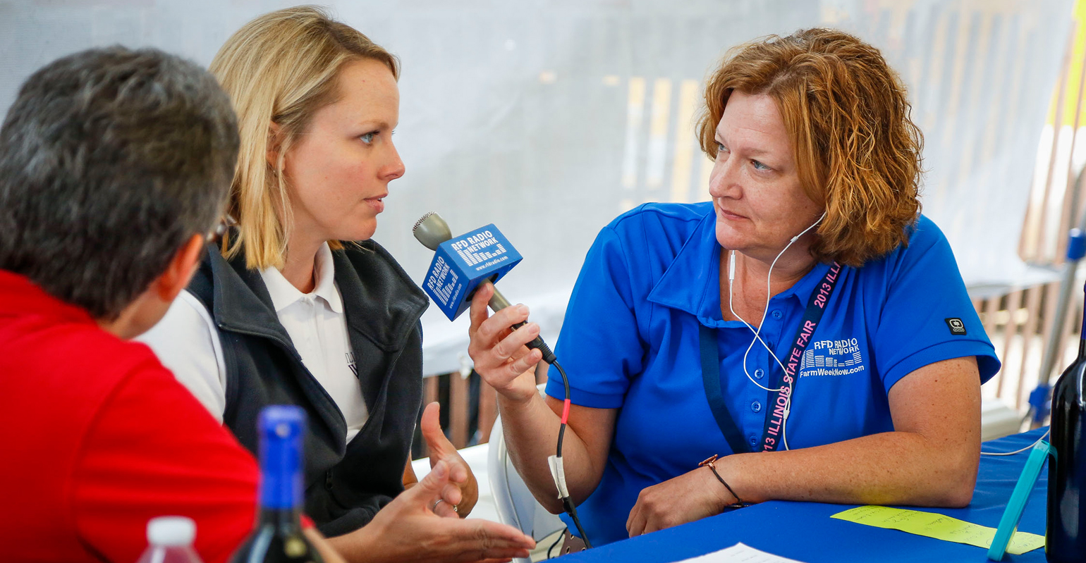 Rita Frazer doing interview