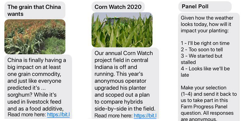 Farm Progress Text Alert examples