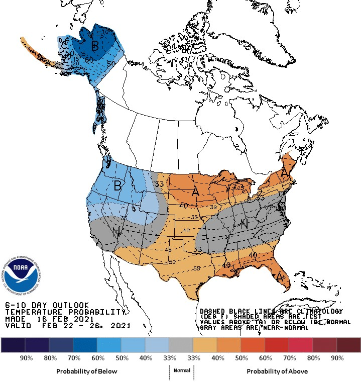 NOAA Temps 6-10 days - 2021 cold snap