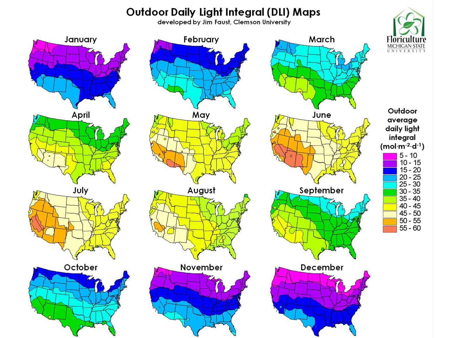 Outdoor daily light integral map for continental United States January through December