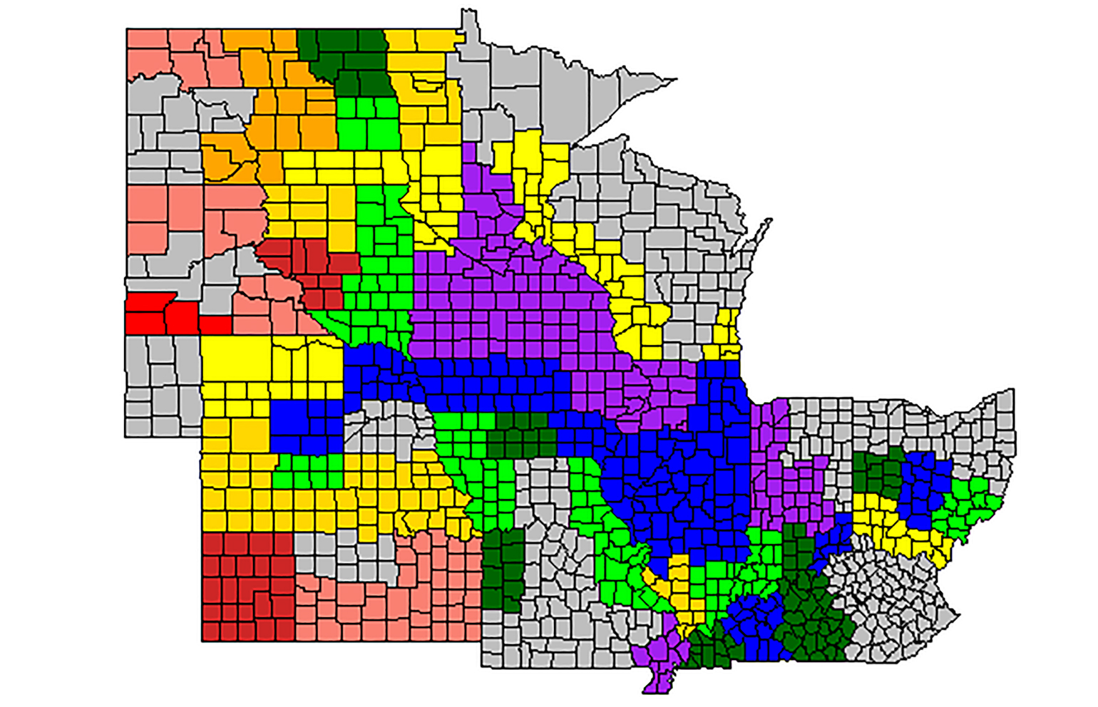 colored map of U.S. Midwest