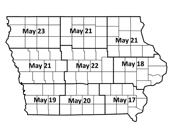 : Estimated dates for when black cutworm cutting will begin varies by crop reporting district, based on peak flights of moths during spring 2019. Map of scouting days
