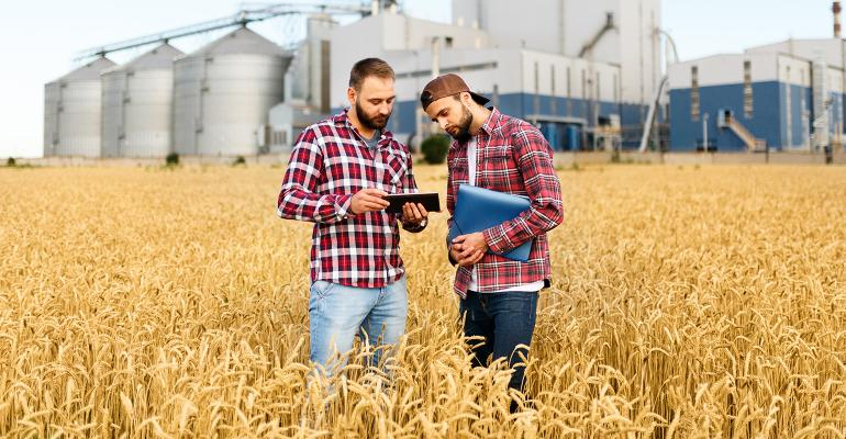 two young farmers standing in field