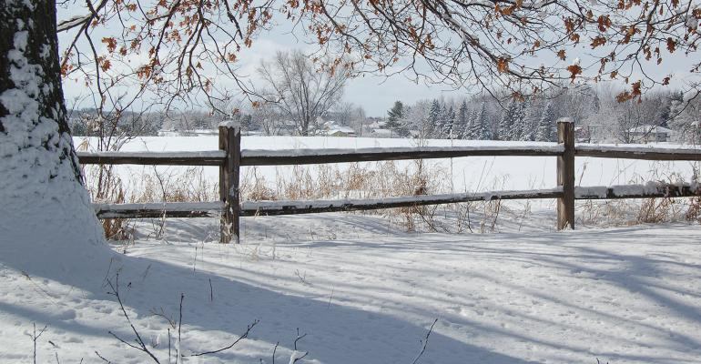 scenic snowy field and fence