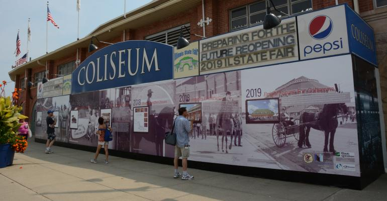 wall showing history of Coliseum at Illinois State Fair