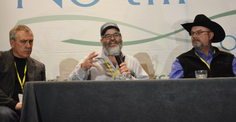 : Brian Berns, center, shares his thoughts on the growth of the soil health movement during a panel presentation at this year's No-till on the Plains Winter Conference. At left is Jay Furher, with Oklahoma NRCS and at right is Oklahoma farmer Jimmy Emmons