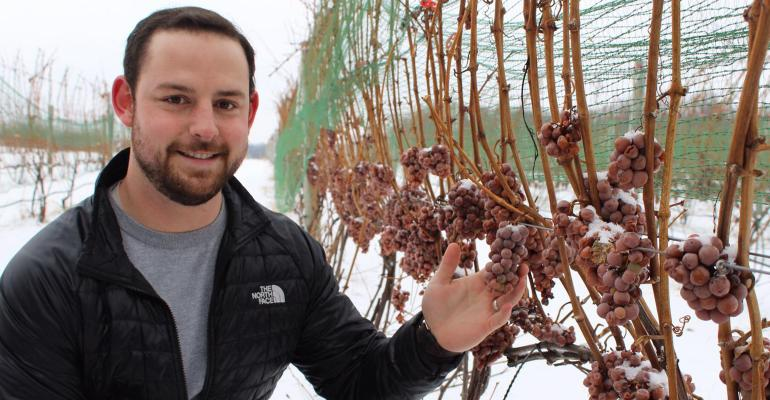 Thomas Todaro, MSU viticulture educator, shows a sample of grapes that were allowed to stay on the vine to be frozen, harvested and processed into ice wine.