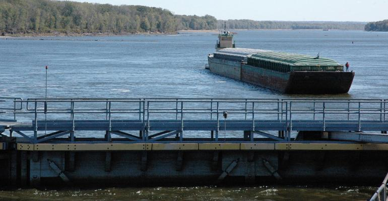 Container barge on the Mississippi River