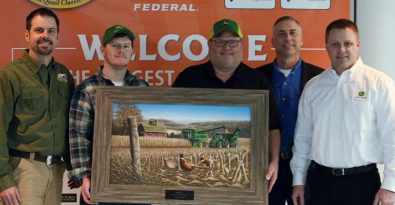 : Ryan Heiniger (from left) of Pheasants Forever, along with Arthur and Lee Wisecup, Kurt Simon of NRCS and John Deere's Joel Dawson, honored the Wisecup family as Precision Farmer of the Year award winners.