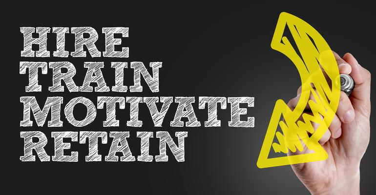 graphic Hire Train Motivate Retain