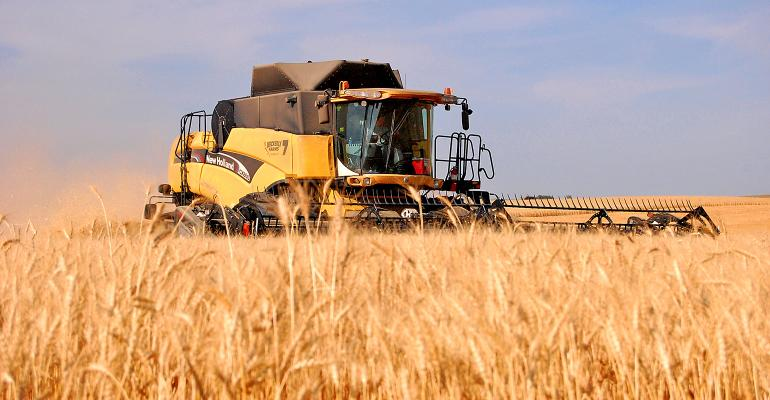New Holland combine harvesting wheat