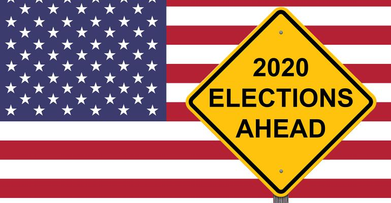 graphic of U.S. flag and 2020 election sign