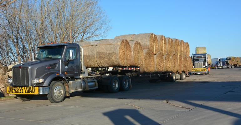 : A caravan of 10 trucks loaded with hay and 2 pickups pulling trailers loaded with fencing supplies rolls out of Hutchinson headed for Pierce, Neb. on March 31.
