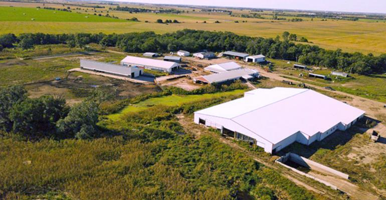 aerial view shows the headquarters of a 900-acre ranch
