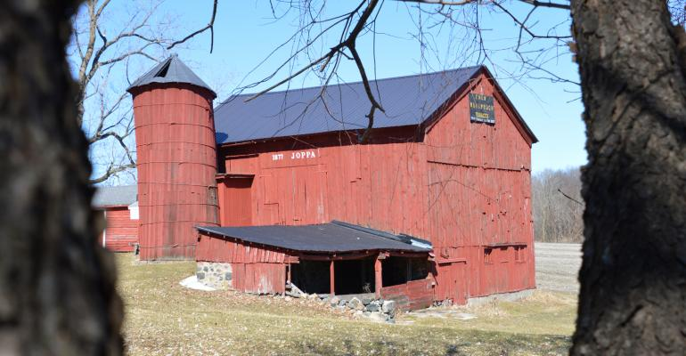 Hibbard barn- red painted barn and silo