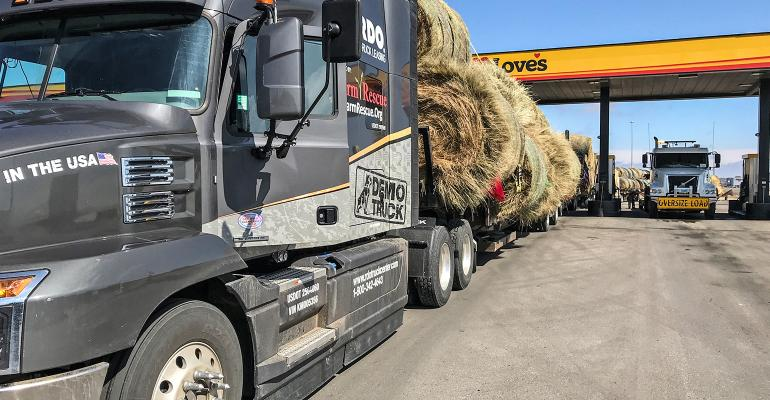 Farm Rescue semi hauling donated hay