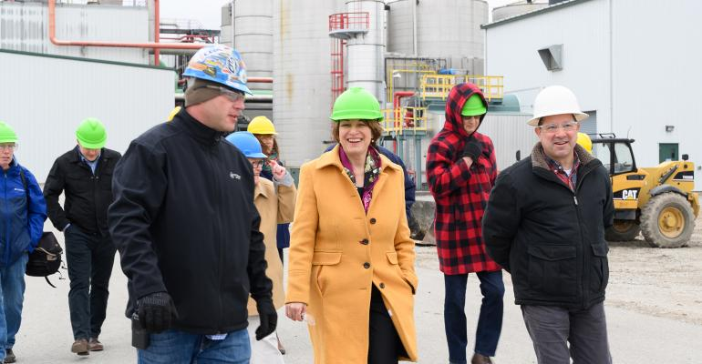 Democratic presidential candidate Sen. Amy Klobuchar tours Lincolnway Energy in central Iowa