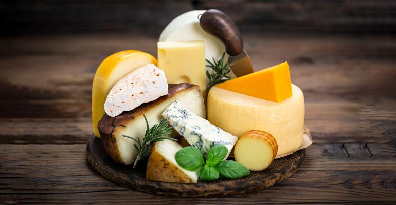 platter of assorted cheeses